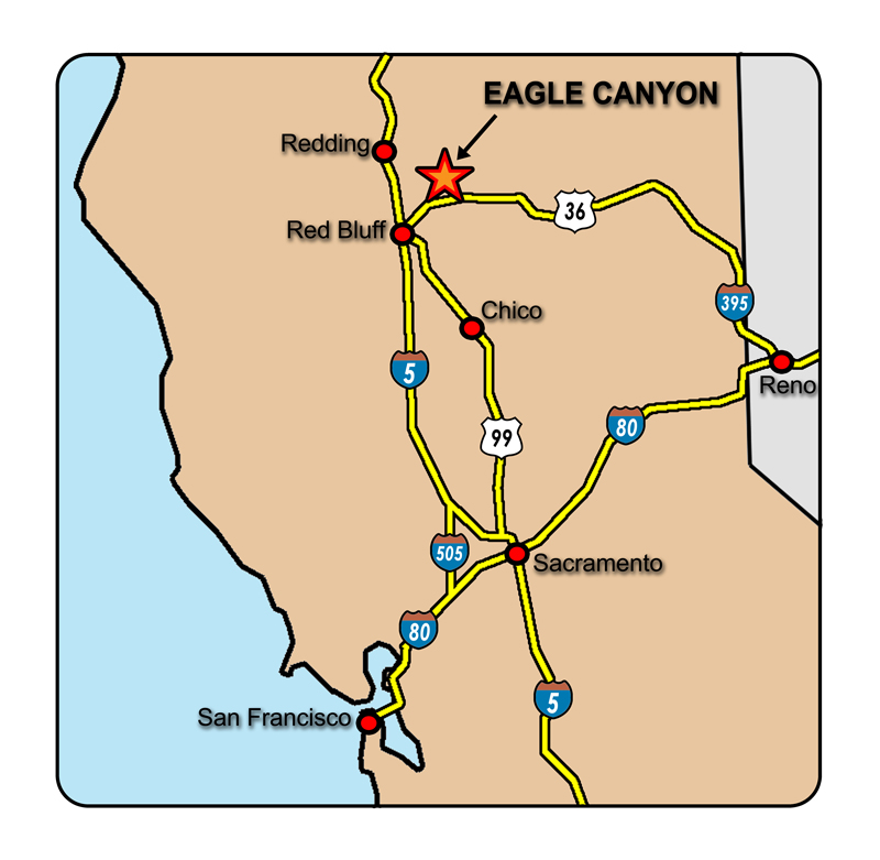Map of Northern California showing Eagle Canyon location.